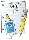 tecknad filmskolatillförsel stock illustrationer
