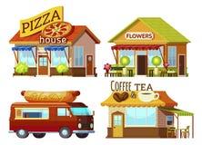 Tecknad filmskyltfönsteruppsättning stock illustrationer
