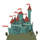 Tecknad filmslott på en kullelägenhetsymbol Royaltyfri Fotografi
