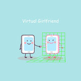 Tecknad filmsmartphone med den faktiska flickvännen Arkivbilder
