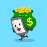 Tecknad filmsmartphone som bär stora pengar Arkivfoton