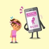 Tecknad filmsmartphone som hjälper en kvinna att göra övning för elasticitet för halssidokrökning vektor illustrationer