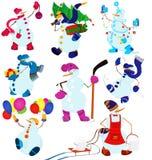 Tecknad filmsnögubbeuppsättning och ballonger Royaltyfri Bild
