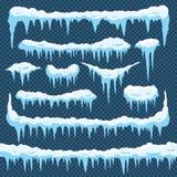 Tecknad filmsnöistappar Istappis med snowcap överst Vinter som snöar gränser för julkortdesign Frostramar royaltyfri illustrationer
