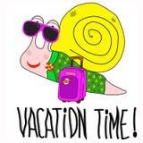 Tecknad filmsnigel med den stora rosa resväskan vektor illustrationer