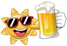 Tecknad filmsol som dricker öl stock illustrationer