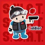 Tecknad filmsoldat med en vapenklistermärke Arkivbild