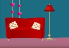 Tecknad filmsovrum med soffan, kuddar och golvlampan Arkivbilder