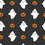 Tecknad filmspöken och pumpa sömlösa halloween mönstrar bakgrundsillustrationen vektor illustrationer