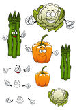 Tecknad filmsparris, blomkål och spansk peppar Royaltyfri Bild