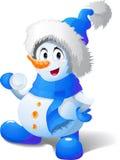 tecknad filmspelrum kastar snöboll snowmanen Royaltyfri Foto