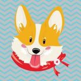 Tecknad filmstående av en hund i en halsduk Gullig hund för jul Symbolet av året Vektorillustration för en hälsning royaltyfri illustrationer