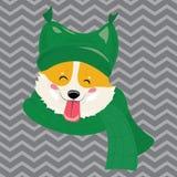 Tecknad filmstående av en hund i en hatt Gullig hund för jul Symbolet av året Vektorillustration för ett hälsningkort stock illustrationer
