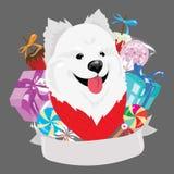 Tecknad filmstående av en hund med en julgåva Symbolet av året Vektorillustration för ett hälsningkort royaltyfri illustrationer
