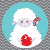 Tecknad filmstående av ett vitt får med en julgåva Ett lyckligt får Vektorillustration för barn stock illustrationer