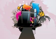 tecknad filmstadsillustration Fotografering för Bildbyråer