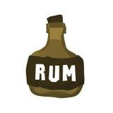 Tecknad filmstilgrunge piratkopierar isolerade vektorillustrationen för rom flaskan på vit Royaltyfri Fotografi