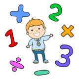 Tecknad filmstilmatematik som lär den modiga illustrationen Matematisk arithmetic uppsättning för symbol för logikoperatörssymbol Arkivbild