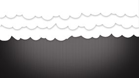 Tecknad filmstilmoln hänger upp gardiner att öppna upp och avslöjande något lager videofilmer