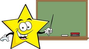 Tecknad filmstjärna med en blackboard stock illustrationer