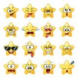 Tecknad filmstjärnaframsida Emoji tecken Gulliga emoticons Royaltyfri Foto