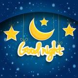 Tecknad filmstjärna och måne som önskar bra natt Vektorbakgrund EPS1 Royaltyfri Bild