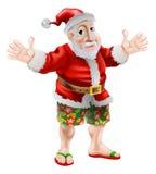 Tecknad filmstrand Santa stock illustrationer