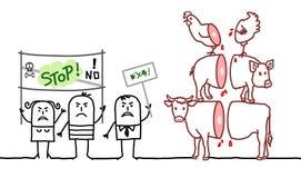 Tecknad filmstrikt vegetarianfolk som säger INTE till köttbransch Royaltyfri Bild