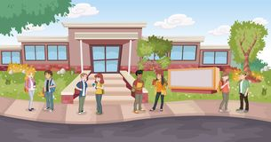 Tecknad filmstudenter framme av skolabyggnad royaltyfri illustrationer