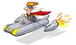 Tecknad filmsuperheroen kör hans flygbil Arkivfoton