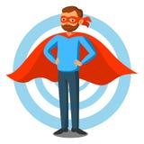 Tecknad filmsuperheroman i röd udde, manlig superhero, programmerare royaltyfri illustrationer