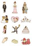 tecknad filmsymbolsbröllop Arkivbild