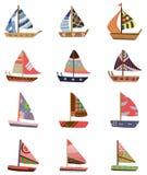 tecknad filmsymbolssegelbåt stock illustrationer
