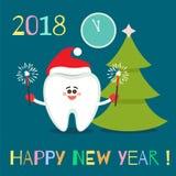 Tecknad filmtand med bengal ljus lyckligt nytt år stock illustrationer