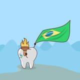 Tecknad filmtand med den Brasilien flaggan Arkivfoton