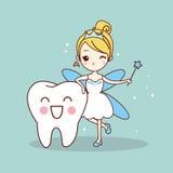 Tecknad filmtand med tandfen stock illustrationer