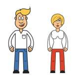 Tecknad filmtecken av kvinnan och mannen, Vektor Illustrationer