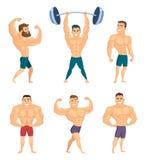 Tecknad filmtecken av starka och muskulösa kroppsbyggare som poserar i olikt, poserar stock illustrationer