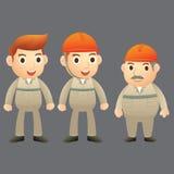 Tecknad filmtecken för tre tekniker Fotografering för Bildbyråer