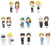 Tecknad filmtecken i både man och kvinna i variou stock illustrationer