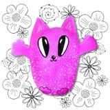 Tecknad filmtecken i kawaiistil med bilden av en katt p? en abstrakt bakgrund Designtapet, tryck, r?kningar, f?rgl?ggning, vektor illustrationer