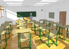 Tecknad filmtecken i klassrum som undervisar inget Royaltyfri Fotografi