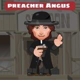 Tecknad filmtecken i vilda västern - predikant Angus vektor illustrationer