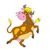 Tecknad filmtecken som dansar kon Rolig ko med en klocka Isolerad vektor Arkivbilder