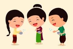 Tecknad filmtecken Songkran 3 Arkivfoton