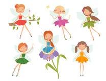 Tecknad filmtecken - uppsättning av gulliga små feer Royaltyfria Bilder