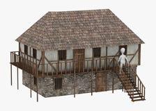Tecknad filmteckenet med medeltida byggnad - gå på Arkivbild