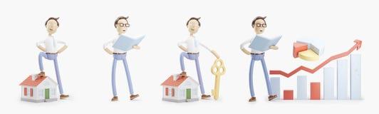 Tecknad filmteckenet står med en bok, ett litet hus, en tangent och en infographics Uppsättning av illustrationer 3d royaltyfri illustrationer