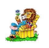 Tecknad filmteckning av en dekorativ lejonkonung av fän Royaltyfri Foto