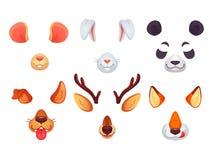 Tecknad filmtelefonmaskeringar Roliga djuröron, tunga och ögon Brun maskering för mus och för hjortar för björn för panda för röd stock illustrationer